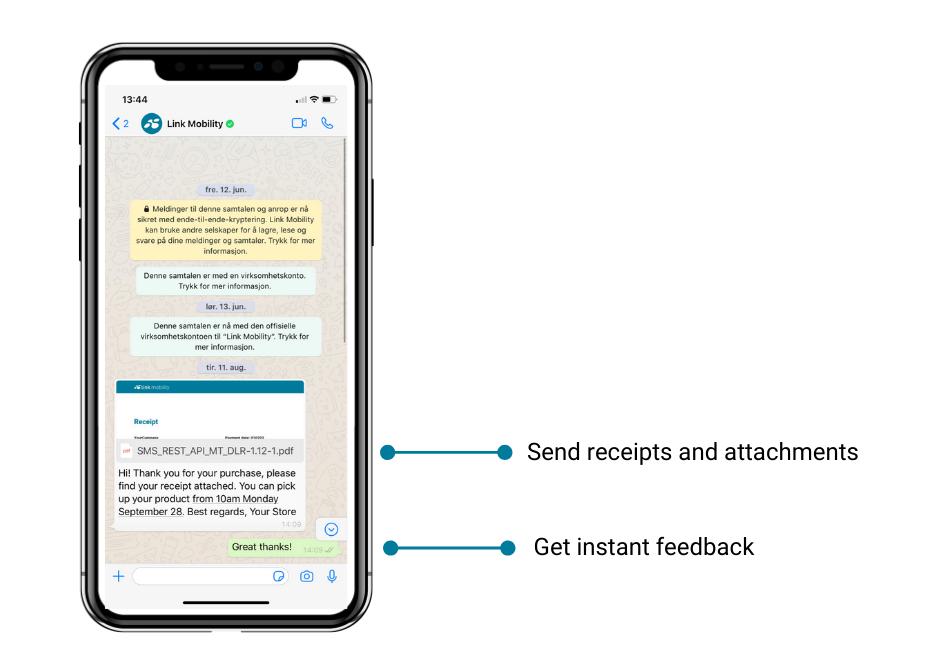 whatsapp keskustelunäkymä asiakasdialogi-ratkaisusta jossa voi lähettää tiedostoja ja saada suoraa palautetta kuluttajalta