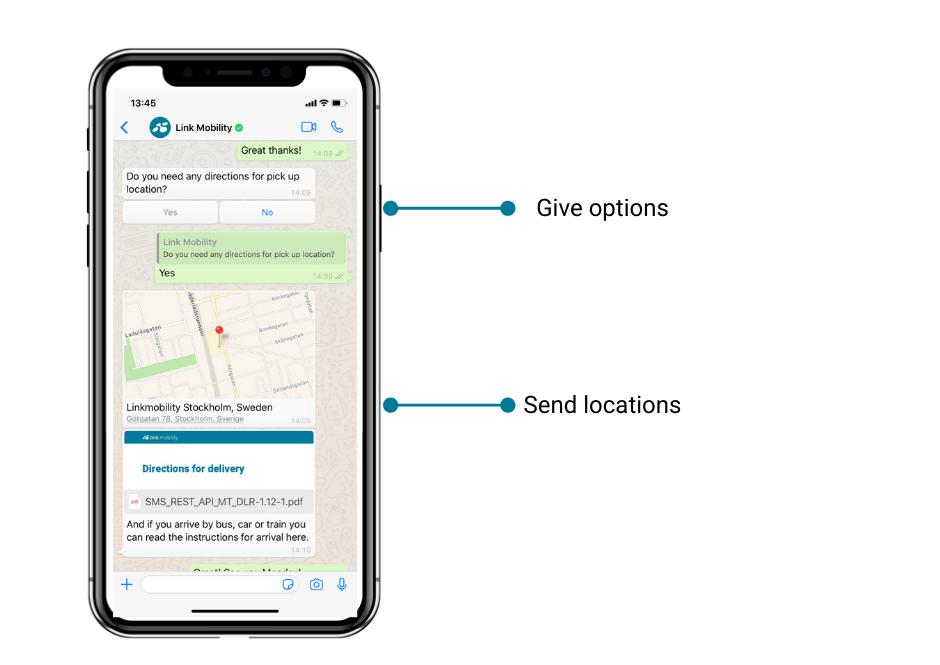 keskustelunäkymä whatsapp business solutions ratkaisusta jossa voi antaa vaihtoehtoja ja jakaa sijainteja
